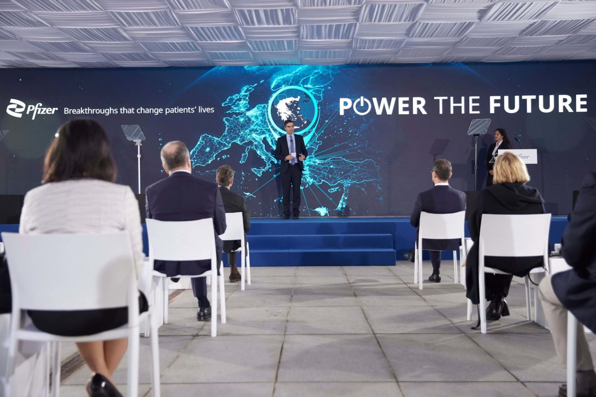 Ο Κυριάκος Μητσοτάκης στα εγκαίνια των νέων εγκαταστάσεων της Pfizer στη Θεσσαλονίκη